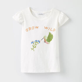 all aflutter tee, 5-6y - white print
