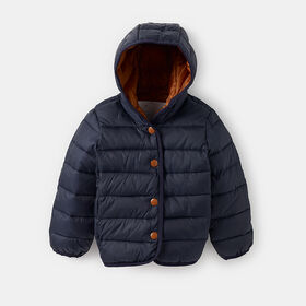 hooded button-up puffer jacket , size 0-6m - Blue