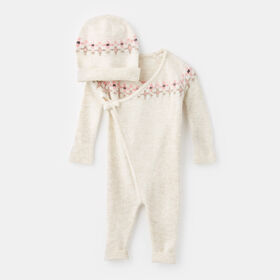 wrapped up romper set , size 9-12m - White