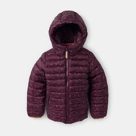 lightweight cropped puffer parka, size 3-4y - Red