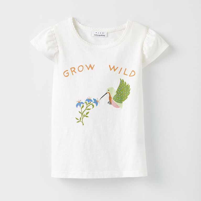 all aflutter tee, 18-24m - white print