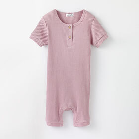 shorty ribbed romper, 18-24m - dawn pink