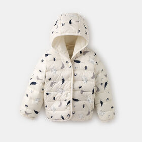 hooded button-up puffer jacket , size 0-6m - White