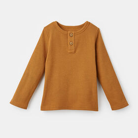 simple long sleeve waffle henley , size 18-24m - Brown