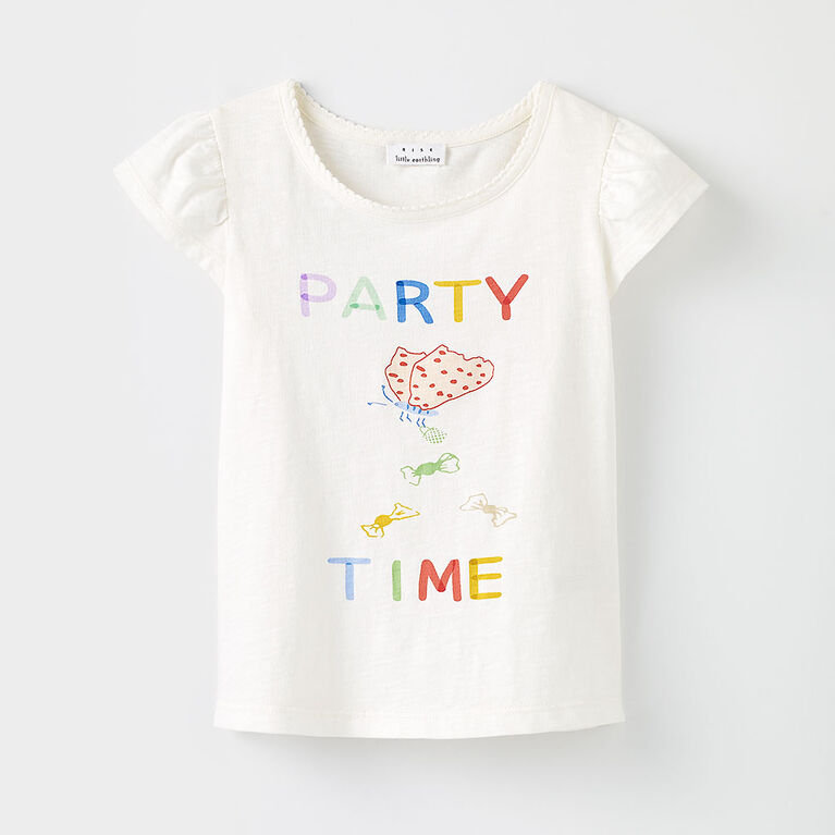 rise little earthling - all aflutter tee, 4-5y - cream print