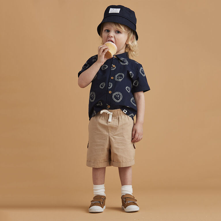 woven cotton button-up, 9-12m - navy