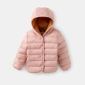hooded button-up puffer jacket , size 0-6m - Pink