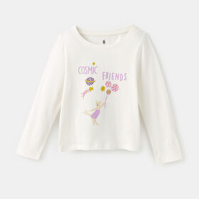 little styler long sleeve graphic tee, size 12-18m - White