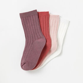 classic ribbed crew socks, 2-3y - pink