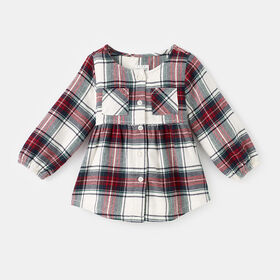 plaid button down blouse, size 2-3y - Cred