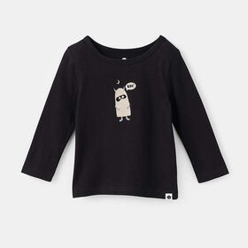 little styler long sleeve graphic tee, size 4-5y - Black