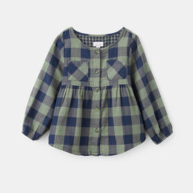 everyday plaid button down , size 2-3y - Blue
