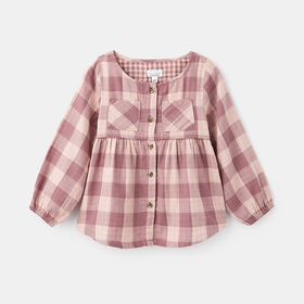 everyday plaid button down , size 12-18m - Pink
