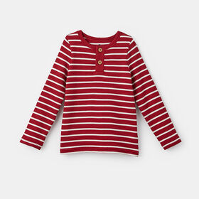 simple long sleeve waffle henley , size 12-18m - Red
