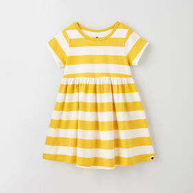5-6 ans robe à manches courtes - rayures bambou